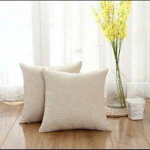 Linen Decorative Throw Pillow Covers Set, Beige